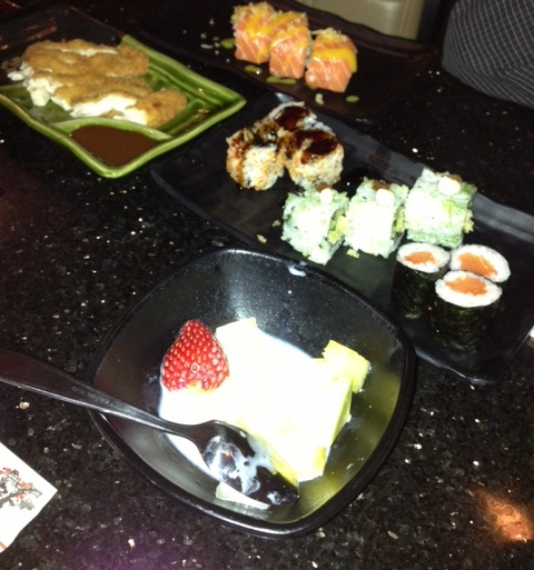 food at a sushi restaurant