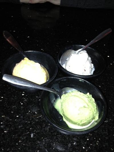 ice cream at a sushi restaurant