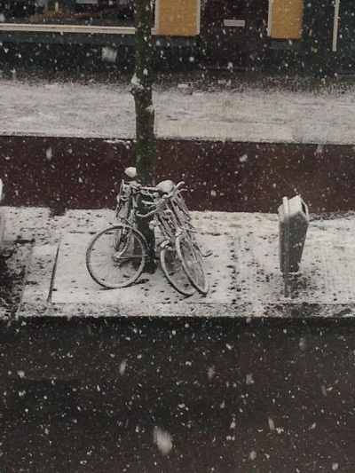 beginning of snowfall in The Hague