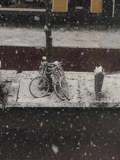 beginning of snowfall in The Hague