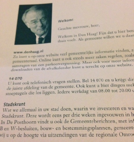 letter from The Hague burgemeester
