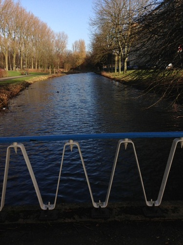 River and walking bridge in The Hague Netherlands