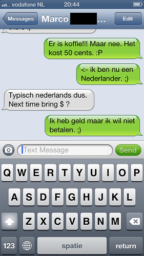 text conversation about Dutch coffee
