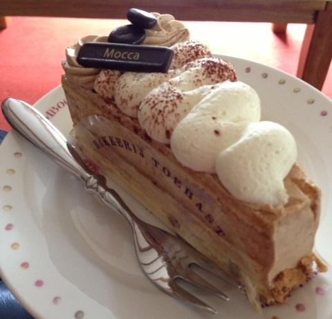 slice of mocha cake