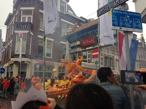 Chinatown parade in The Hague for Willem Alexander