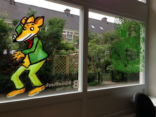 window paintings in a Dutch library