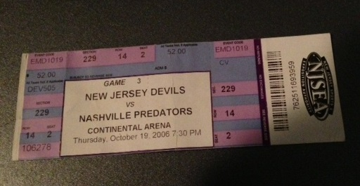 Predators vs Devils Oct 19 2006 ticket