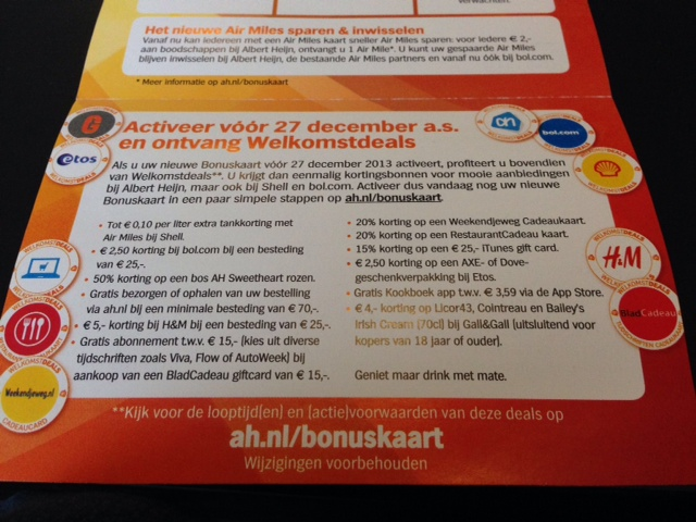 new Albert Heijn bonus card offer