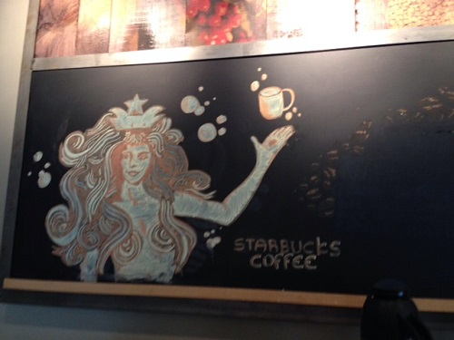 Starbucks drawing in The Hague Centraal Station