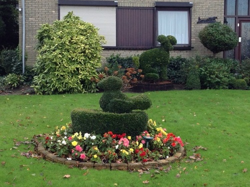 landscaping in front of a Dutch house