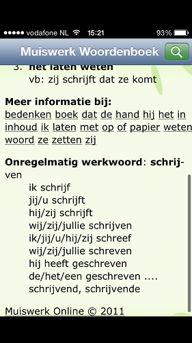 Muiswerk Dutch dictionary app 2
