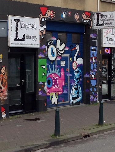 random shop graffiti in The Hague