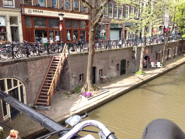 stairs down a canal in Utrecht