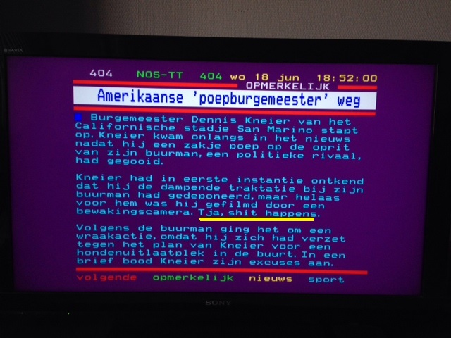 Dutch teletext news item