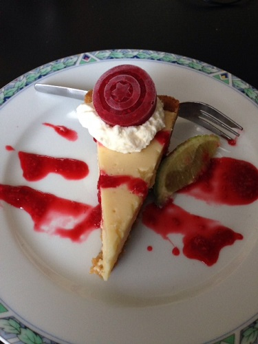 key lime pie with Captain America shield