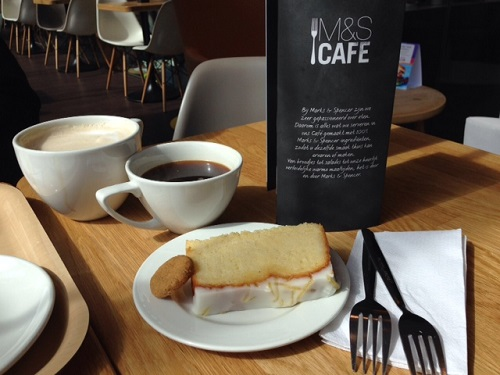 lemon cake and coffee by Marks & Spencer in The Hague