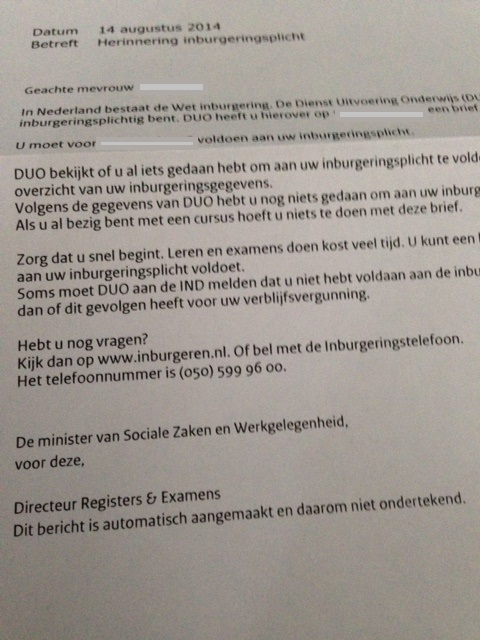letter from Duo about inburgeringsplicht