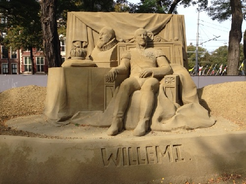 Willem I sand art in The Hague