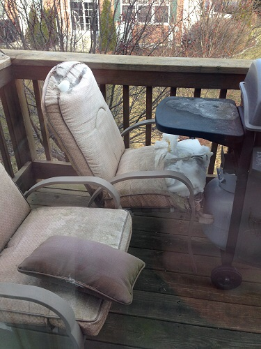 Final destruction of patio chairs