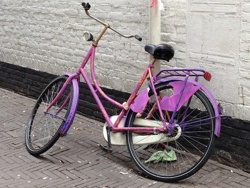 Purple Dutch bike - close up