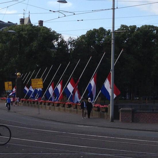 Flags at half staff for MH17 (Buitenhof, The Hague)