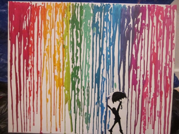 Melting crayon art with umbrella