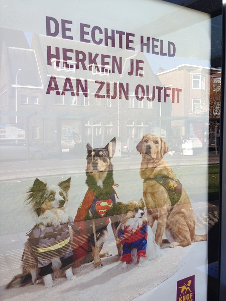 Guide dogs advertisement at tram stop in The Hague