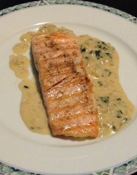 Escalope of salmon with basil (Marco Pierre White)