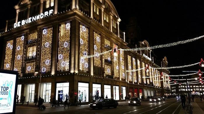 Christmas lights Bijenkorf Amsterdam 2015