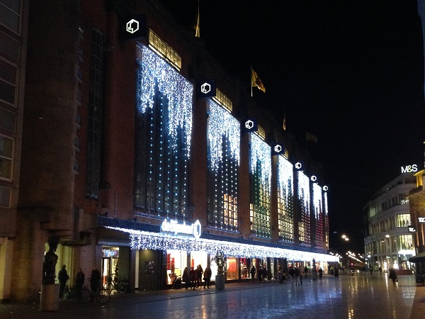 Christmas lights Bijenkorf The Hague 2015