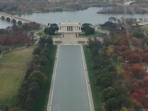 Lincoln memorial viewed from Washington monument