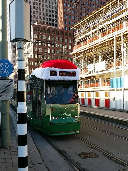 Tram 1 decorated for Christmas, The Hague