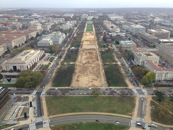 View of DC construction work from Washington monument