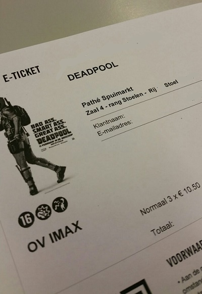 Ticket to see Deadpool