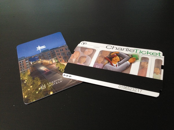 Hotel room key and Boston Charlie ticket