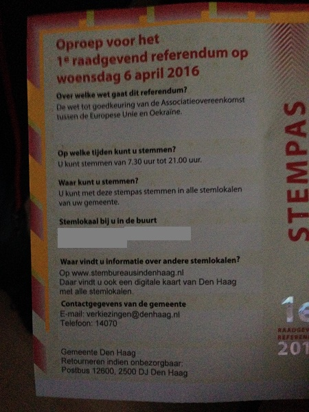 Left side of Dutch voting card