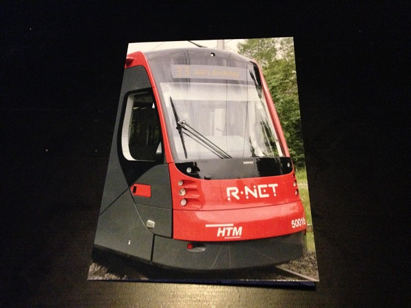 Tram themed birthday card - front