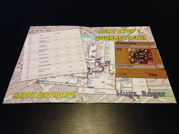 Tram themed birthday card - inside