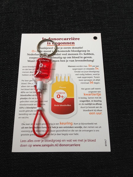 First time donor in the Netherlands card with keychain