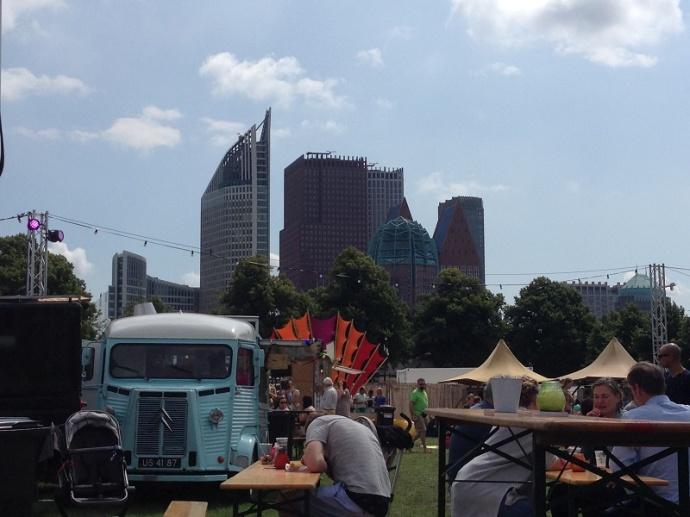 Den Haag skyline at Food truck festival