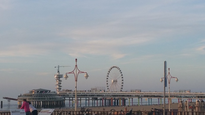 Closeup of new ferris wheel in Scheveningen
