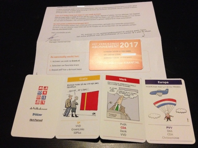 Four week newspaper subscription for Dutch elections 2017