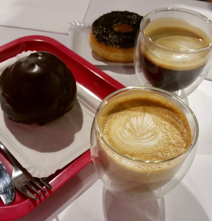 Bossche bol, coffee and a donut by Monkey Coffee in Den Bosch