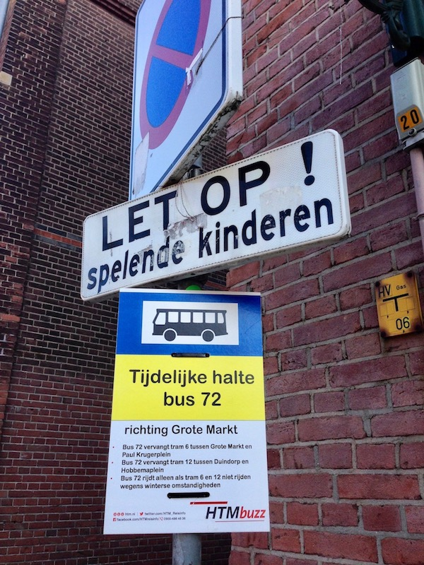 Outdated bus 72 sign in The Hague