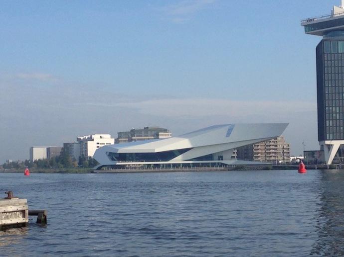 EYE Film museum in Amsterdam, from across the river, Sept 2017