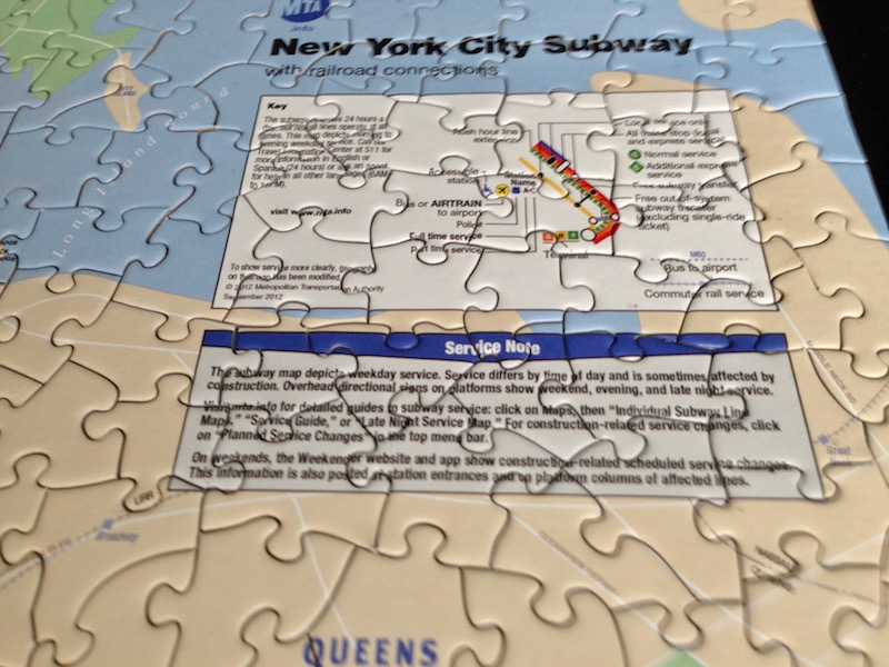 NYC subway puzzle - close up of title