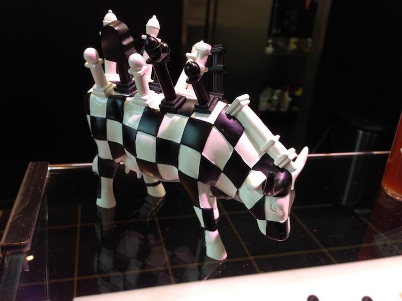 Chess cow art piece at MingleMush, The Hague