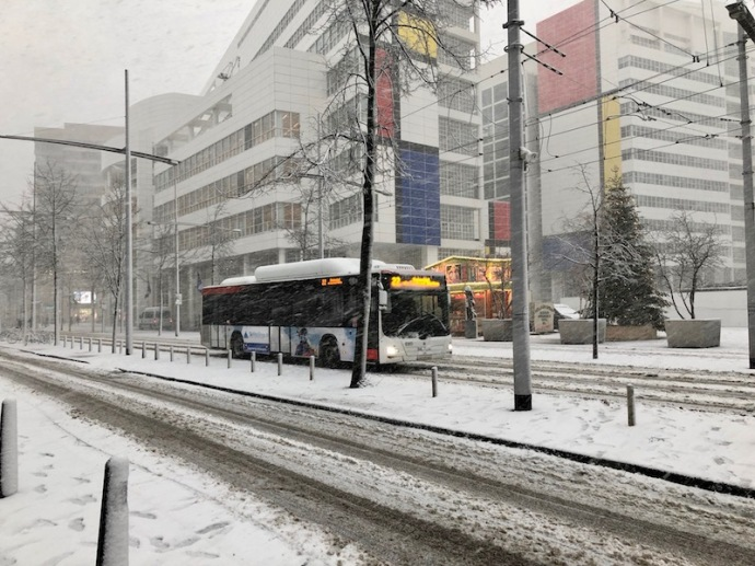 HTM bus 22 and December snow fall, The Hague city hall.jpg