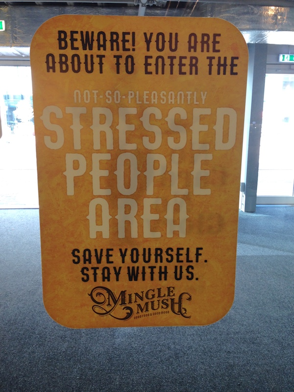 Sign at MingleMush in The Hague - stressed people