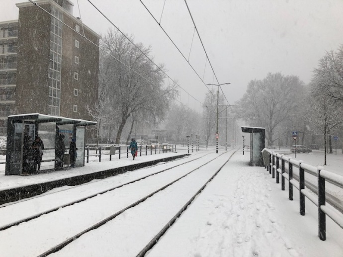 Tram stop Reigerbergersweg in the snow, The Hague, December 2017
